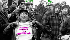 New York Area Bisexual Network (NYABN) and Bialogue members with ILGO at St Pat's Protest